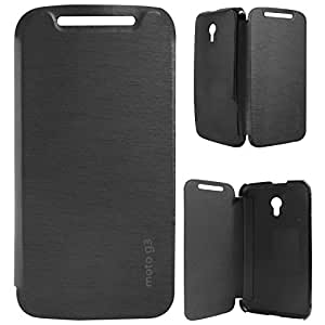 ASG Premium PU Leather Back Replacement Cover For Motorola Moto G 3rd Gen (Black)