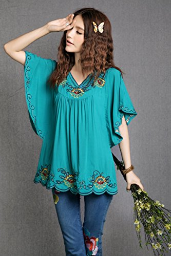 Ashir Aley New Floral Embroidered Butterfly Sleeve Wrap Ruffled Peasant Tops Blouse(M,Turquoise)