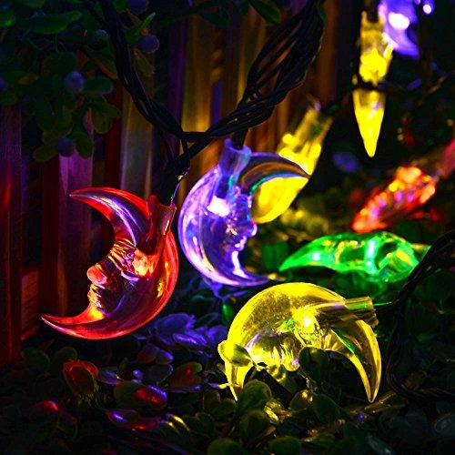 LuckLED 20ft 30 LED Moon Solar String Christmas Lights with Sensor (Multi-Color) Home Garden