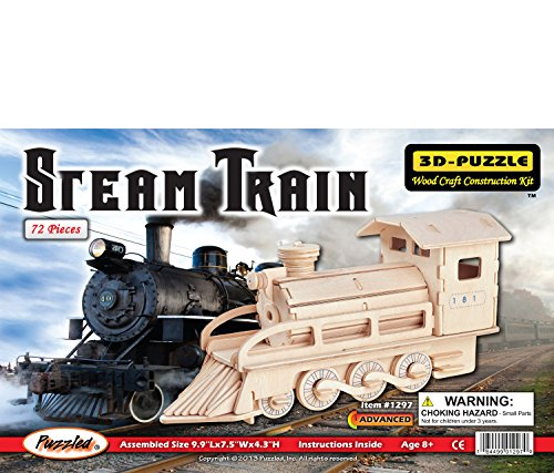 Puzzled Steam Train 3D Jigsaw Woodcraft Kit Wooden Puzzle - 1