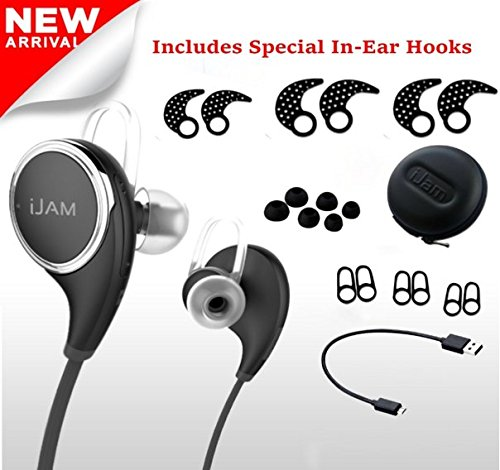 iJAM QCY Bluetooth Headphones Best For Running - Wireless Earbuds with Mic and Case - In-Ear Headset, Noise-Cancelling, Sweatproof - Syncs with Samsung, iPhone, Android & all Bluetooth Device