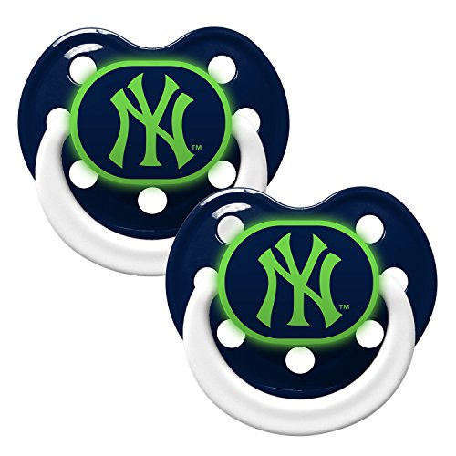New York Yankees Glow in Dark 2-Pack Baby Pacifier Set - MLB Infant Pacifiers by Baby Fanatic - 1
