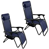 GHP Set of 2 Outdoor Beach Patio 300LBS Capacity Blue Zero Gravity Lounge Recliner Chairs