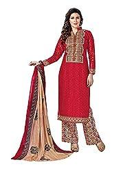RK Fashion Womens Cotton Un-Stitched Salwar Suit Dupatta Material ( YOGESH-MCM-LIFESTYLE-SANA-146-Red-Free Size)