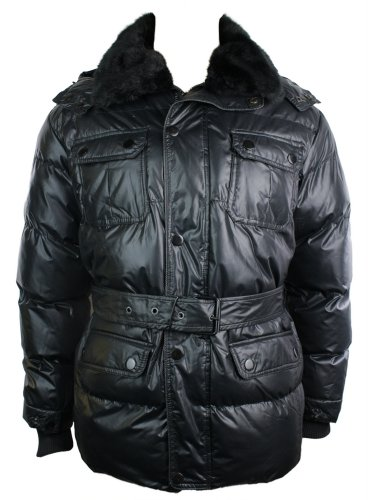 Mens Winter Warm Down Removable Fur Hooded Puffer Parker Overcoat Jacket Black Padded