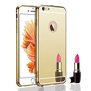 Droit Luxury Metal Bumper + Acrylic Mirror Back Cover Case For Apple6G Gold + Mini Aux wired Selfie Stick.