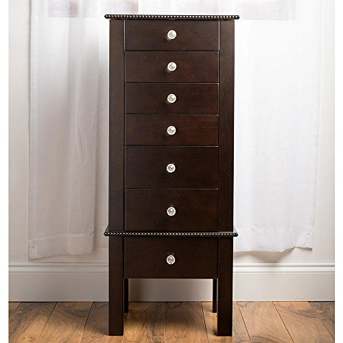 Quot crystal espresso colored solid wood jewelry armoire with