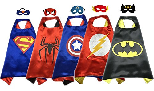[Superhero Capes And Mask Halloween dress Up Superhero Costumes 5 SET For Kids] (Heroes And Villains Dress Up)