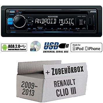 Renault Clio 3 FL - Kenwood KDC-100UB - CD/MP3/USB iPod/Android-Steuerung Autoradio - Einbauset