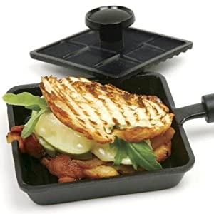 Cast Iron Mini Panini Pan With Press 2pc Set