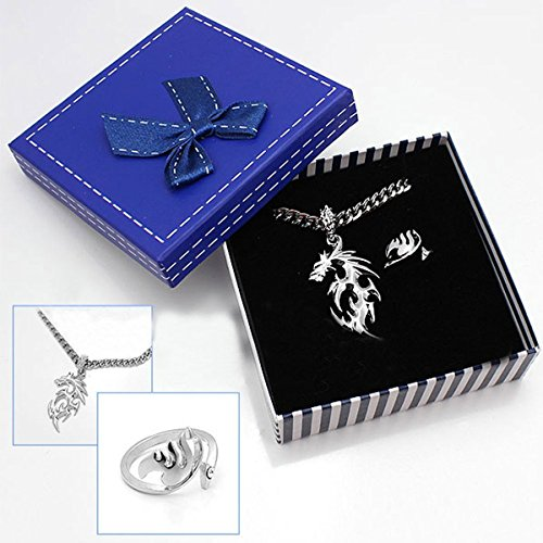 FOCUS-COSTUME Fairy Tail Fire Dragon Necklace+Tail Ring