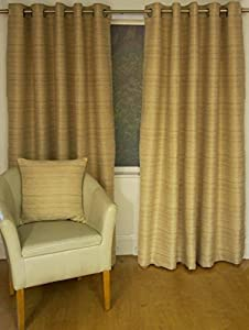 Austwick Natural Jacquard 65x54 Lined Ring Top Curtains #cillatem *hc* from Curtains