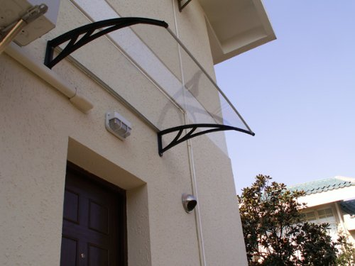 NEW MODERN DOOR CANOPY AWNING AWNINGS IN OUT 1400 x1000 WITH SILVER BRACKETS