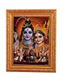 Bm Traders Golden Zari Work Photo of Shiv-Parvati With Gloden Frame