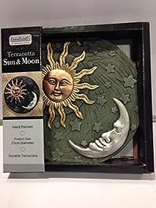 Garden Ornament Wall Art Sun & Moon Terracotta Decorative Hand Painted