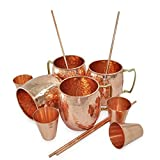 Set of 4, 100% Authentic Copper Mug with FREE Copper Shot Glass And Copper Straw - 16 oz Copper Moscow Mule Mug - Solid Copper Bar, Cocktail & Wine Glasses/Beer Mugs