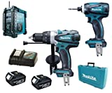 Makita 18V LXT Li Ion DK18000 Kit BHP458, BTD140 & BMR101 Job Site Radio