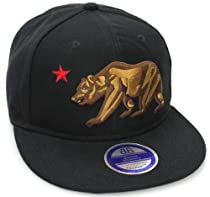 California Republic Logo Bear Flat Bill Snapback Hat Cap All Black