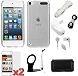 GTMax 10-Items Essential Accessories Bundle kit for Apple iPod Touch 5, New iPod Touch 5G, iTouch 5G, 5th Generation (2012 Version) [ includes Clear Checker TPU Case, Pouch Case, Screen Protector, Charger Adapters, Stylus, Holder, Headset, Wrap ]