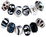 Pandora Style Twelve (12) Piece Charm Bead Set with Murano Style, Lampwork Style and Faceted Glass Style Beads – Fits Pandora, Troll, Biagi and Charmilia – Exact Assortment as Shown (FB99)