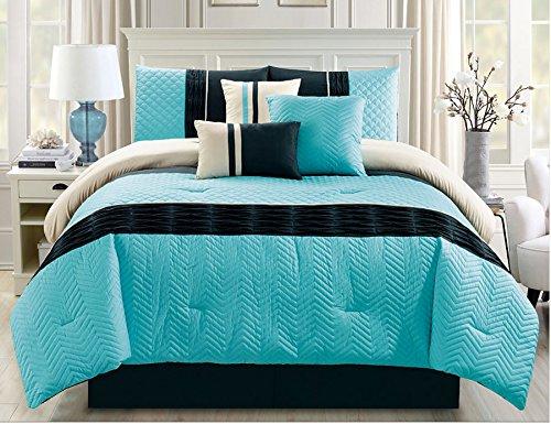 7 Piece Chevron Quilted Pleat Turquoise/Black Comforter Set King (Chevron Quilted Comforter compare prices)