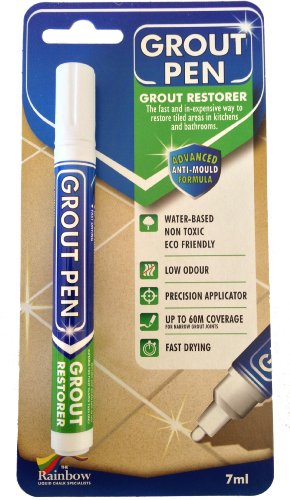 Grout Pen White - Ideal to Restore the Look of Tile Grout Lines (Grout Paint White compare prices)