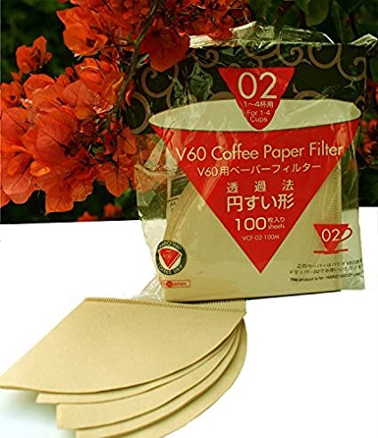 Hario Unbleached V60 Coffee Paper Filter - Size 02 at amazon