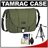 Tamrac 5426 Aria 6 Messenger Photo iPad Digital SLR Camera Case Bag (Moss Green) with Tripod + Accessory Kit for Canon EOS 70D - 6D - 5