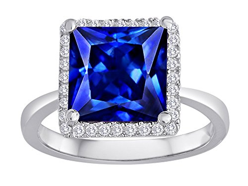 Star K Square Cut Simulated Sapphire Halo Engagement Ring Size 8