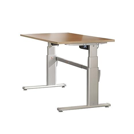 Mesa de escritorio iovivo regulable en altura, de madera de arce de imitación (Basic), BREITE 140CM