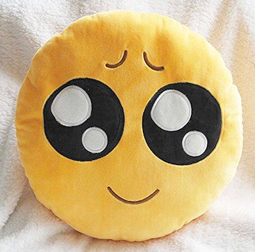 Cute peluche, motivo: Smiley Emoji Smile, Cuscino rotondo cuscino-Bambola di peluche, pitiful, Cuscino