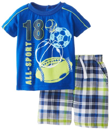 Kids Headquarters Baby-Boys Newborn Crew Neck Tee With Plaided Shorts, Blue, 3-6 Months front-892727