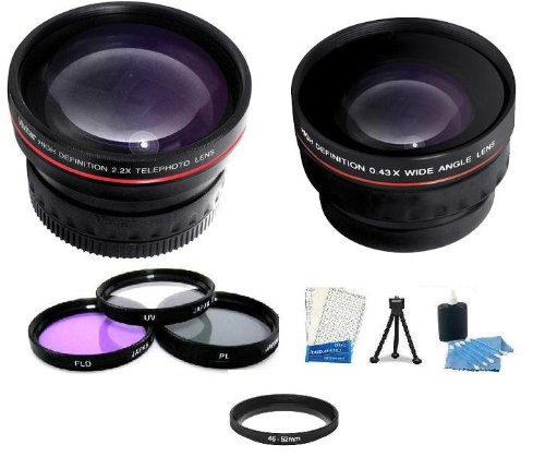 Lens Bundle Includes Hd 0.43X Wide Angle Lens W/ Macro Lens + Hd 2X Telephoto Lens + 3Pc Filter Kit (Uv-Cpl-Fld) + Mini Tripod + Lcd Screen Protectors + Camera Cleaning Kit For Panasonic Hdc-Tm700K Hdc-Sd600 Hdc-Hs700K Hdc-Sdt750K Hdc-Tm900 Hdc-Hs900 Hdc-