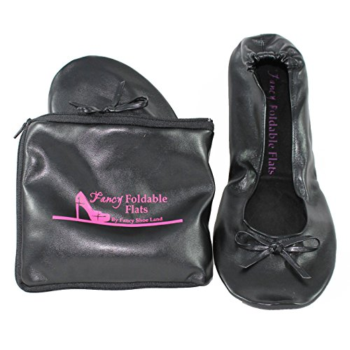 Foldable ballet Flats with EXPANDABLE TOTE Bag for Carrying High Heels shoes Portable Travel Fold up Shoes Prom Folding Shoes