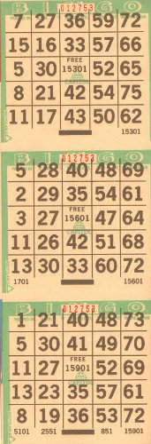 3 on Bingo Paper Cards 3 Cards Per Sheet 4 Sheets to a Booklet 100 Booklets to a Pack Totaling 1200 Cards