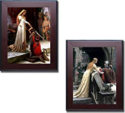 The Accolade & Godspeed by Edmund Leighton 2-pc Premium Mahogany Framed Canvas Set (Ready-to-Hang)