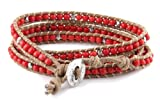Brown and Coral Red Bead Wrap Bracelet - Wraps 4 to 5 Times Around Wrist