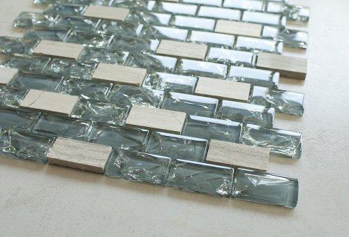 Dark Blue Cleft Glass & Bianco Marble Mosaic Tile - Blue & White 1