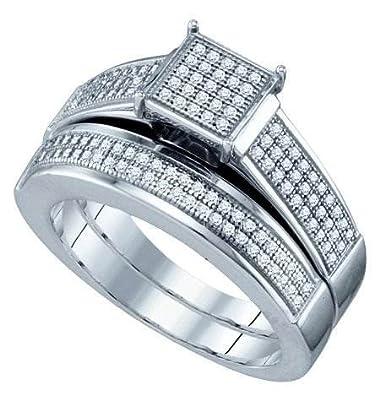 Women's White Diamond 0.40CTW 925 Sterling Silver Two Piece Bridal Set GND63297
