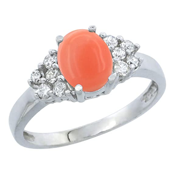 Revoni 14ct White Gold Natural Coral Ring Oval 8x6mm Diamond Accent