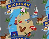 Fleece The Wolverine State of Michigan Great Lakes Tourism Tourist Map Print Fleece Fabric Print by the Yard