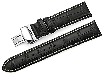 TStrap 18mm 20mm 22mm Genuine Leather Watch Band Replacement Watch Strap Deployant Clasp Buckle Black Brown