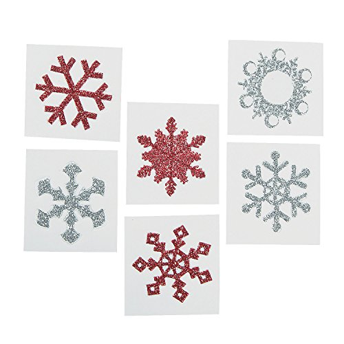 Red & Glitter Snowflake Tattoo Stickers (12 Pack) Safe and Non-toxic. 1 1/2""