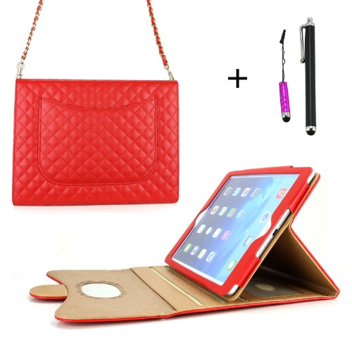 Cellular360 Classic Plaids Mirror Case / Stand Case / Purse Case With Chain Strap For Apple Ipad Air / Ipad 5 - With Credit Card Slot And Sleep/Wake Function & One Headphone Jack Stylus And One Stylus Pen (Fashion Mirror Case - Red)