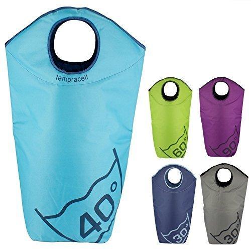 Tempracell - Paniers à linge pliables - Grand sac de linge sale - Avec inscription degrés de lavage - Bleu clair 40 degrés