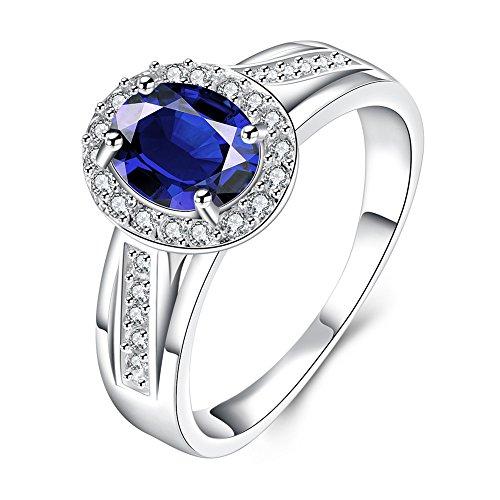 FaithYoo lucido resistente all' ossidazione creative personalità naturale ovale Rubino Anello in argento Sterling 925¡, Pietra blu, 56 (17.8), colore: Blue stone, cod. FE-J00023S7-Z