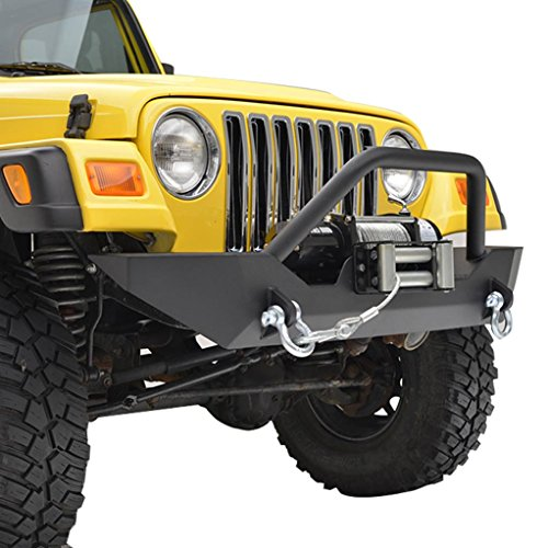 E-Autogrilles Jeep Wrangler TJ Black Textured Front Bumper with Winch Plate
