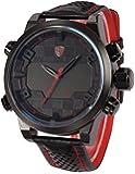 Shark Mens ファッション デジタル LED 日付 アナログ アラーム ブラック レザー クォーツ スポーツ 腕時計SH203