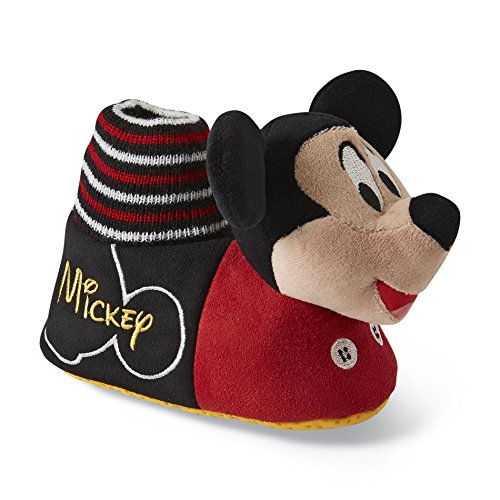 Disney Toddler Boys Red/Black Mickey Mouse Socktop Slippers (Large-9/10) front-768294