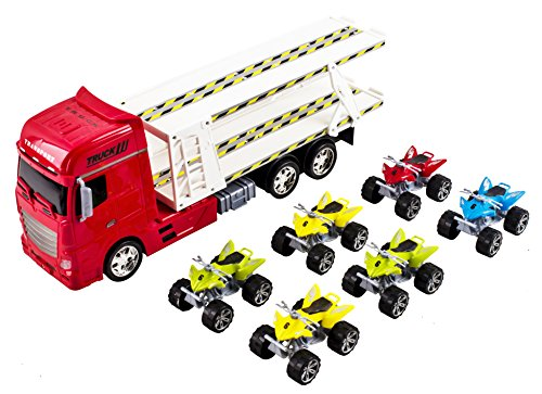 Large Toy Semi Truck Toy Truck Big Rig Long Trailer Hauling 6 ATV Toy Cars Friction Powered Truck (Removable Toy Cars) (Red Color) (Truck Trailer For Atv compare prices)